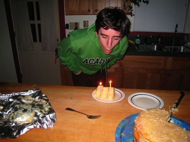 Blowing out my 18th birthday candles